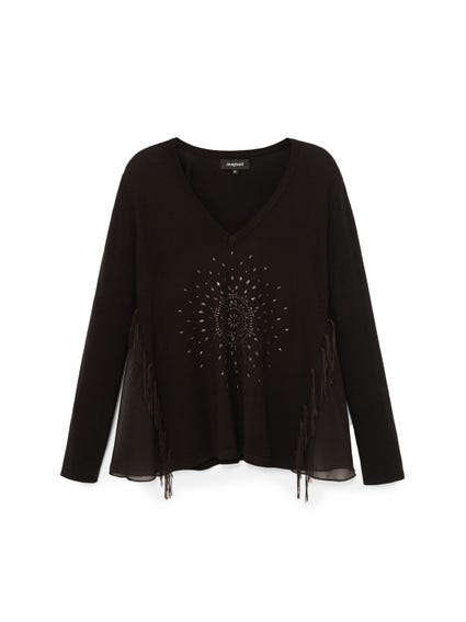 Studs Knitted Long Sleeves Top
