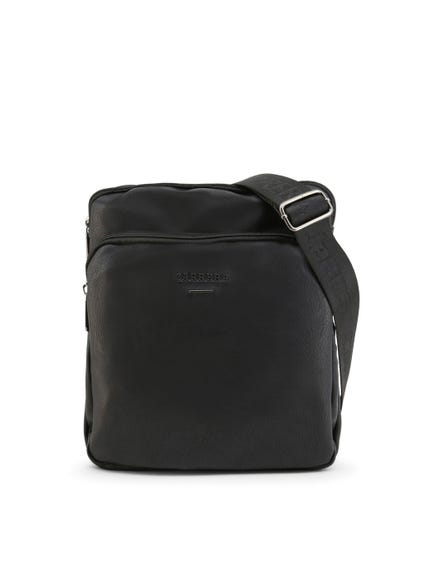 Black Shoulder Strap Leather Zip Crossbody Bag
