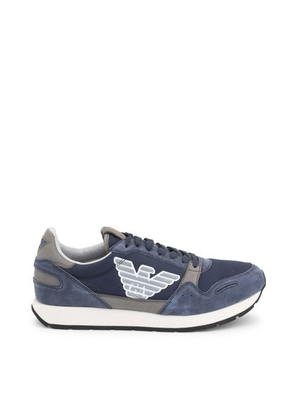 Blue Round Toe Suede Sneakers