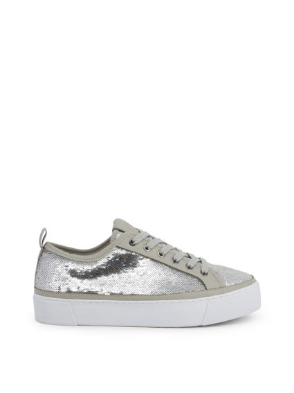 Round Toe Sequin Lace Up Sneakers