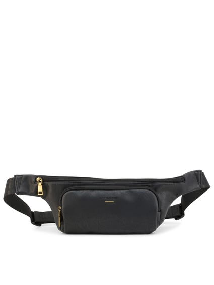 Black Leather Zipper Logo Belt Bag
