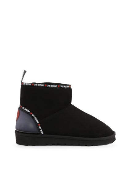 Black Heart Logo Ankle Boots