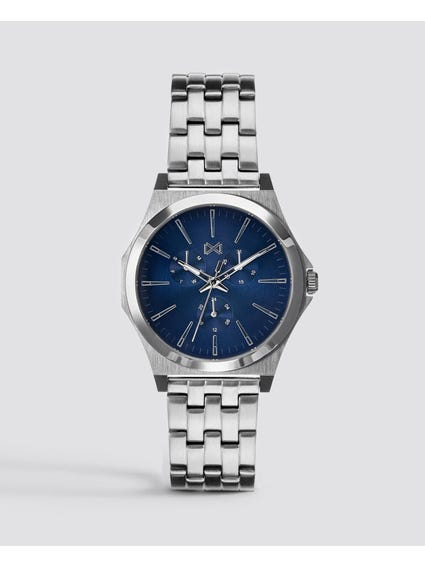 Blue Dial Stainless Steel Analog Watch