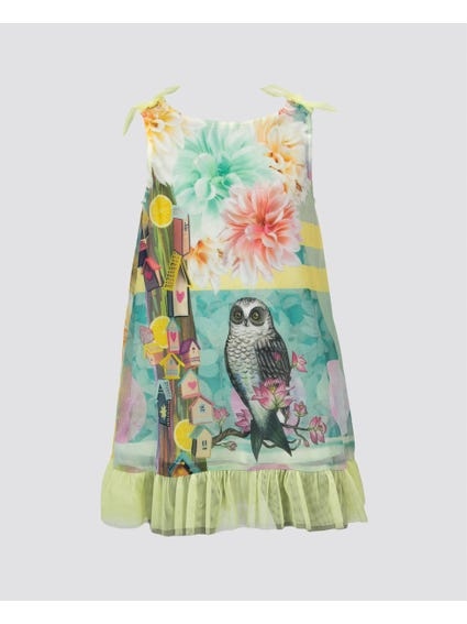 Multi Floral Sleeveless Kids Dress