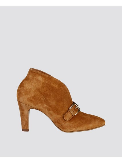 Brown Marjorie Buckle Ankle Boots