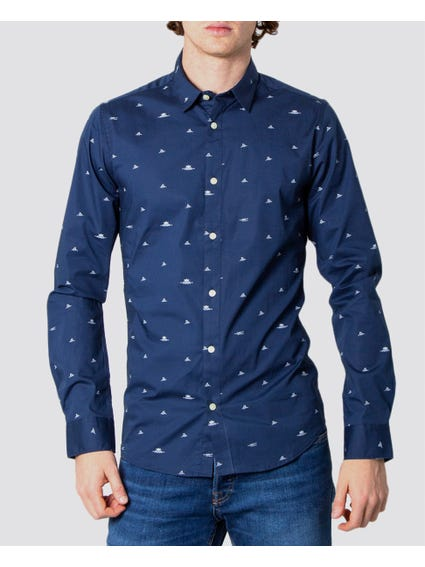 Blue Long Sleeve Printed Shirt