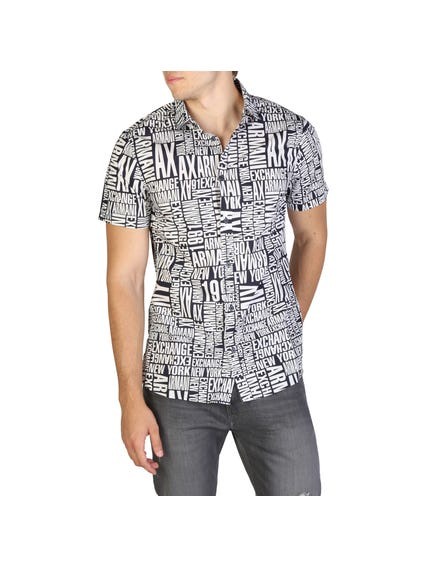 Collar Printed Short Sleeve Button Shirt