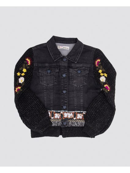 Denim Knitted Sleeves Kids Jacket