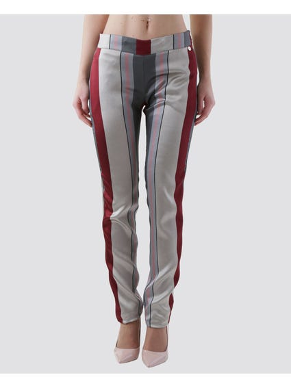Grey Wide Stripes Full Length Pants