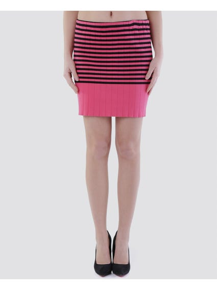 Pink Elasticated Striped Skirt