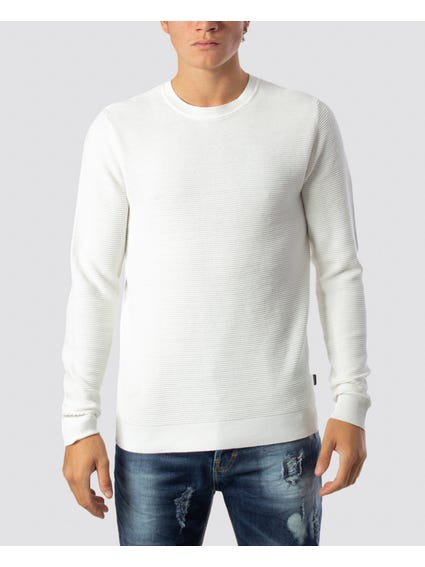 White Pleated Ribbed Knitwear
