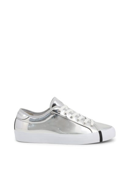 Round Toe Patent Lace Up Sneakers