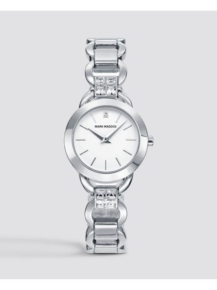 Silver Crystal Analog Watch