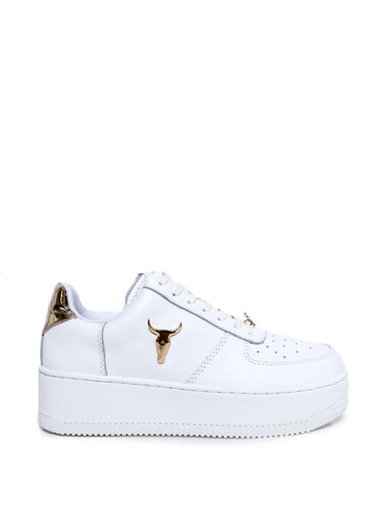Leather Lace Bull Logo Sneakers