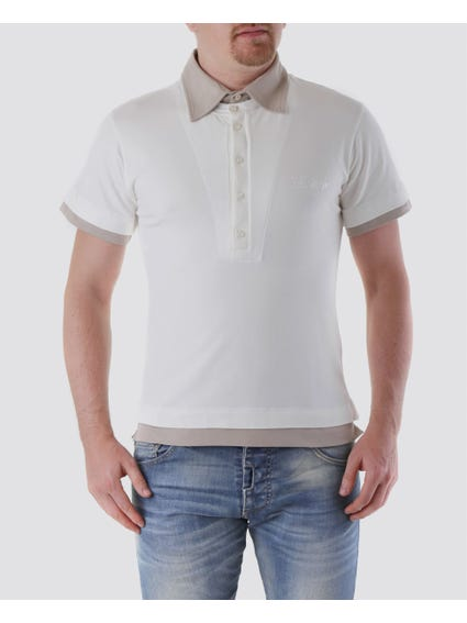 White Double-Knit Cotton Polo Shirt