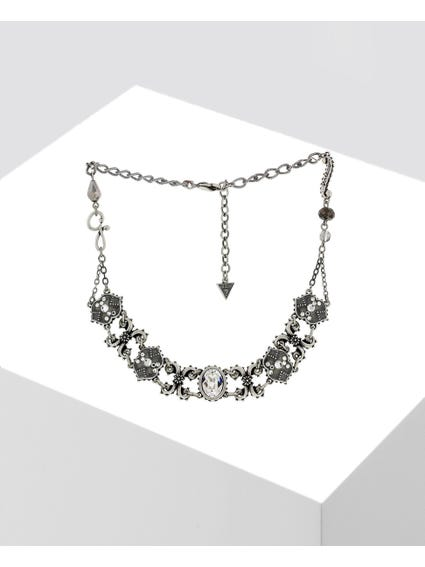 Silver Embellished Crystal Necklace