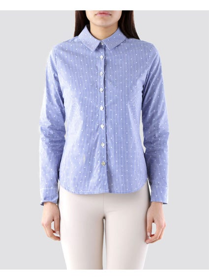 Blue Polka Dots Long Sleeves Shirt