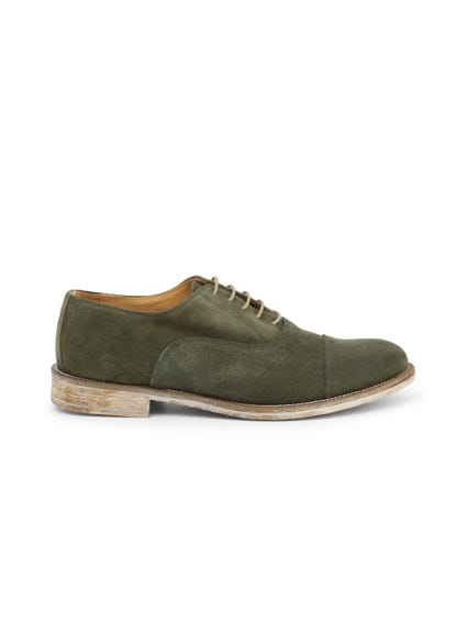 Green Suede Perforated Lace Up Shoes