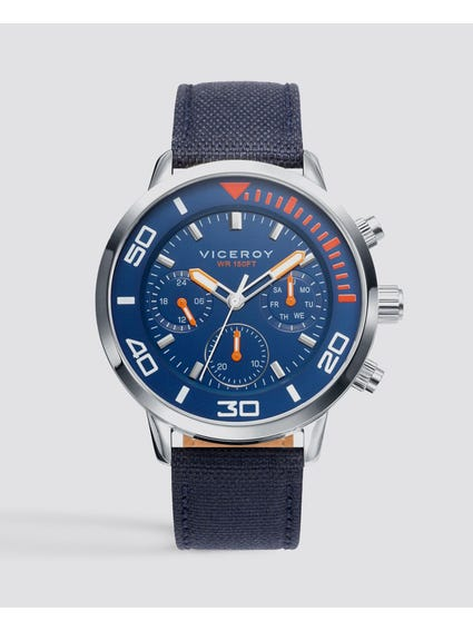 Chronograph Blue Dial Leather Watch