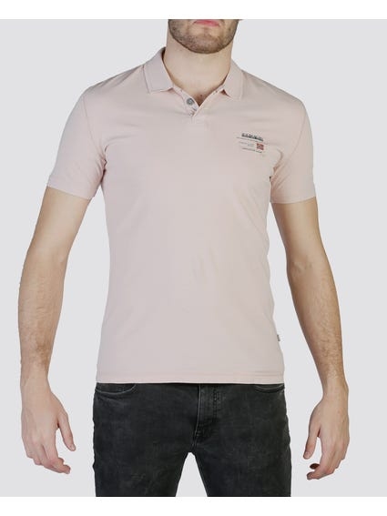 Beige Single Button Polo Shirt