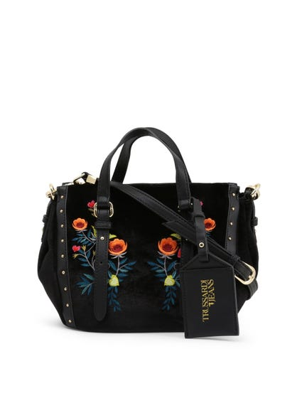 Black Floral Portulaca Shoulder Strap Hand Bag