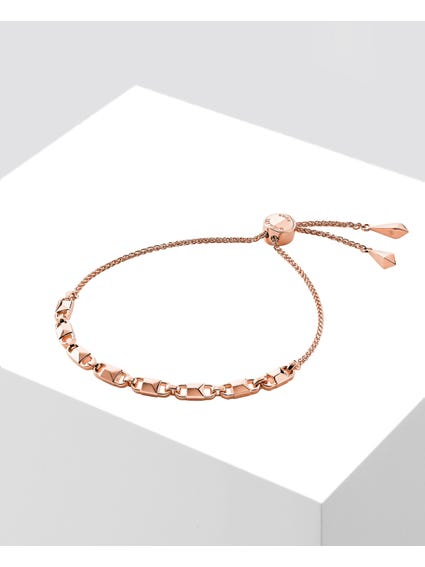 Mercer Link Rose Gold Plated Slider Bracelet