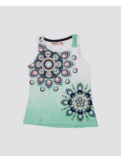 Green Sunshine Sleeveless Kids Top