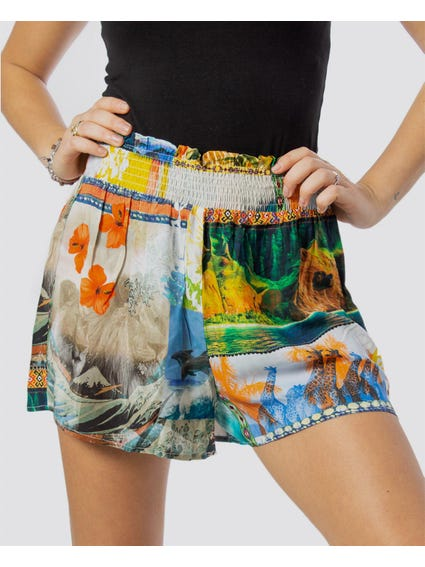 Elasticated Printed Mini Shorts