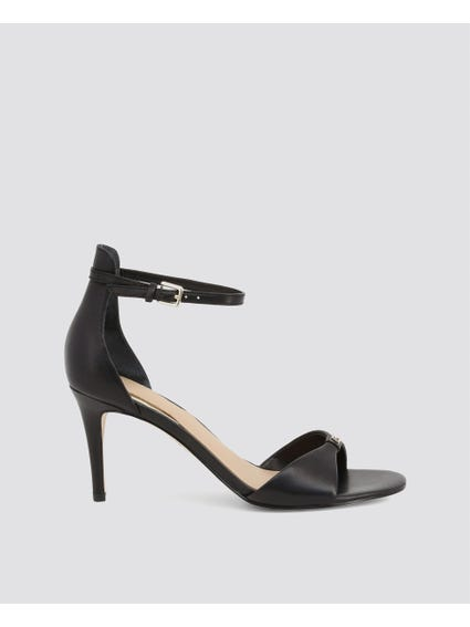 Black Ankle Strap Mid Sandals