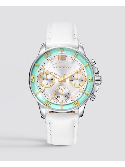 White Endless Leather Watch