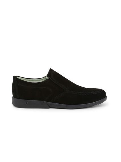 Black Suede Slip On Moccasins