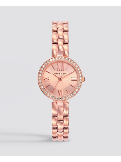 Slim Line Rose Gold Stainless Steel Watch