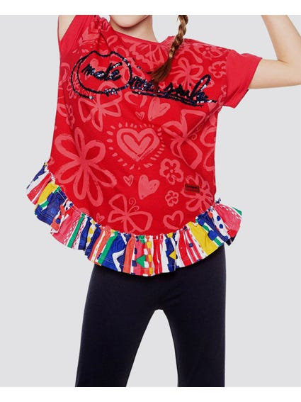 Frilled Hemline Printed Kids Top