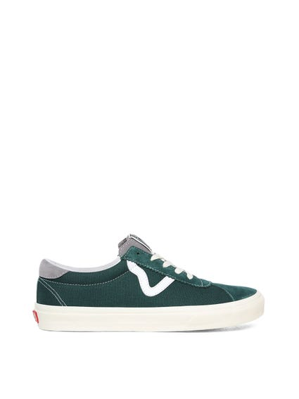 Green Canvas Lace Up Sneakers