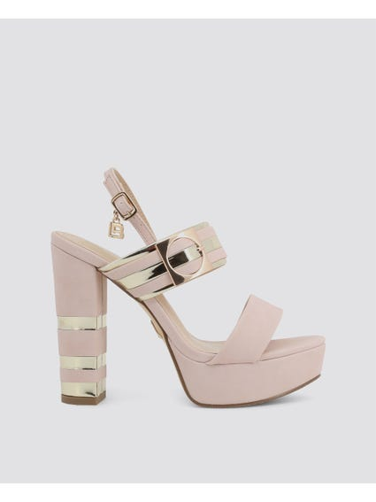 Pink Nabuk High Heel Sandals