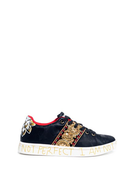 Black Lace Up Sequin Sneakers