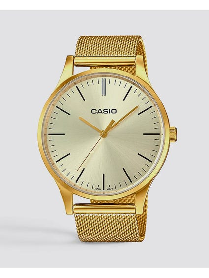 Gold Mesh Strap Analog Watch
