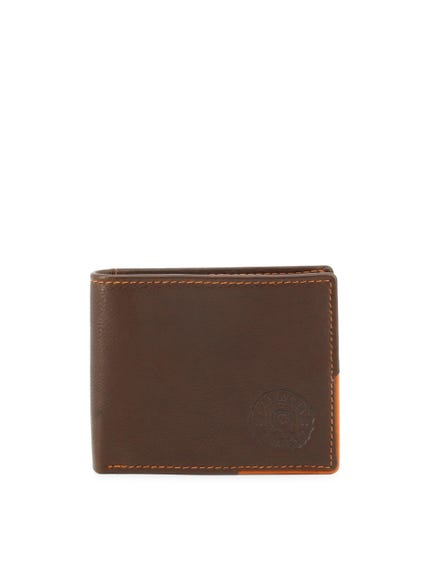 Brown Logo Bi Fold Leather Wallet