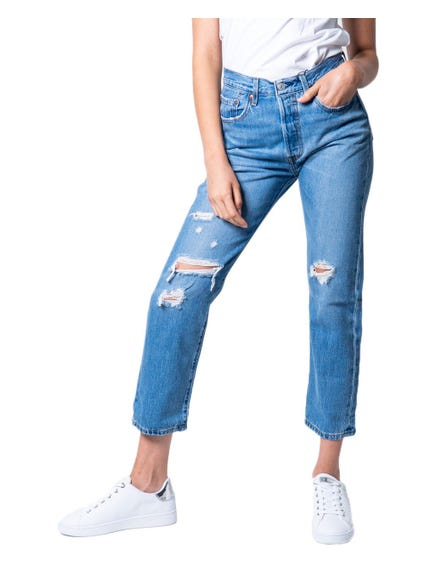 Distressed Button Jeans