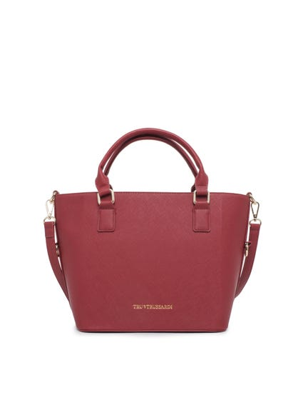 Red Pattern Strap Leather Hand Bag