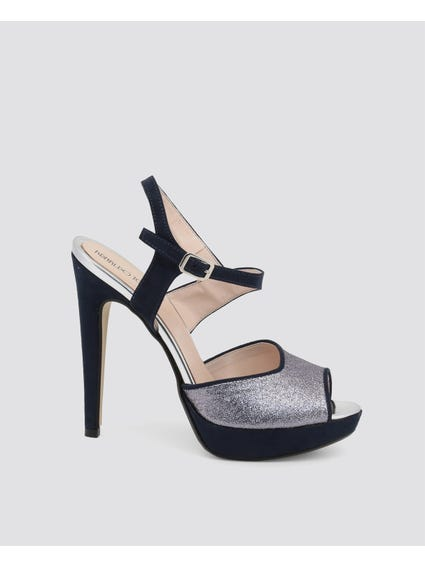 Navy Asymmetric Strap Platform Sandals