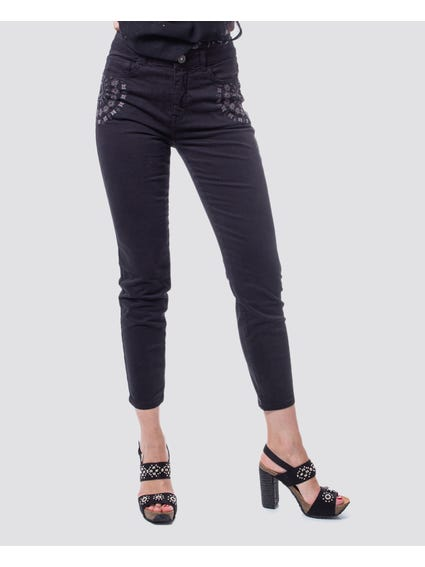 Black Embroidered Cropped Trouser