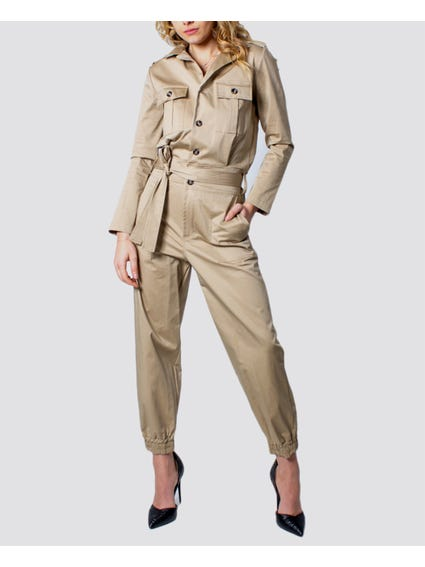 Beige Lapel Collar Jumpsuit