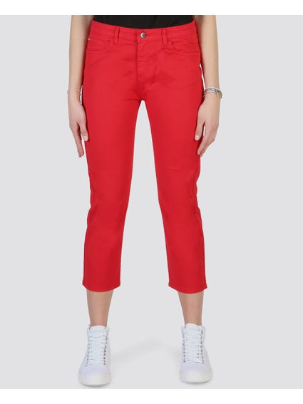 Red Button Zip Trousers