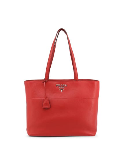 Red Leather Zip Shopping Bag
