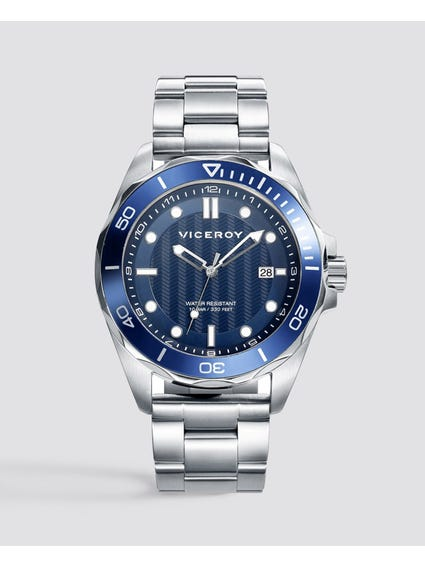 Master Blue Dial Stainless Steel Watch