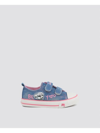 Blue Denim Low Kids Sneakers