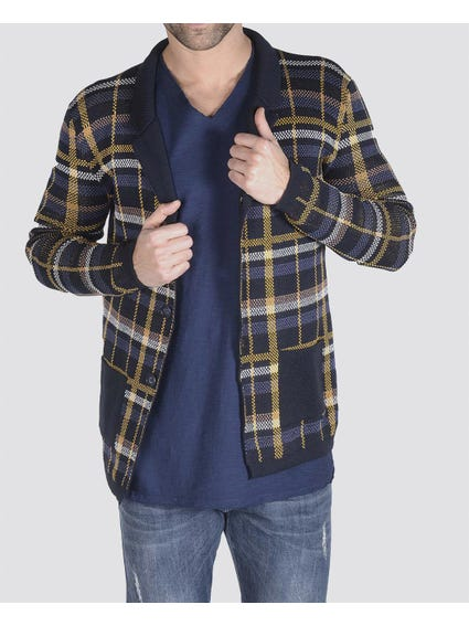 Checkered Lapel Long Sleeve Knitted Blazer