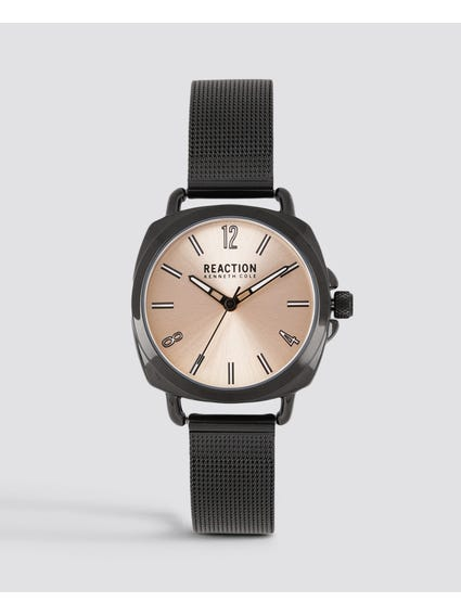 Black Steel Mesh Analog Watch