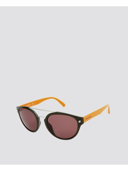 Contrast Frame Double Bridge Sunglasses